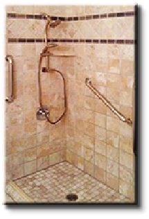 Custome tile roll-in or zero clearance showers for beauty, safety and accessible bathing.